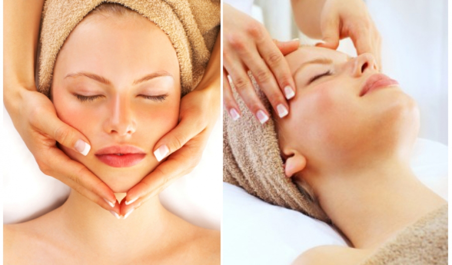 a beautiful woman relaxing and getting a facial