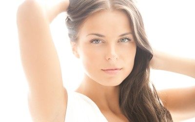 model posing after a skin brightening treatment