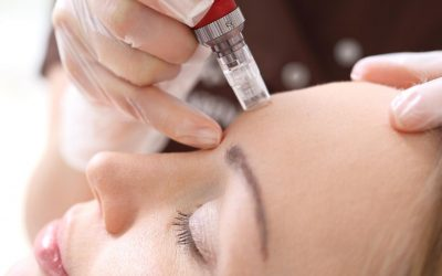 Woman getting wrinkle treatment with injectables