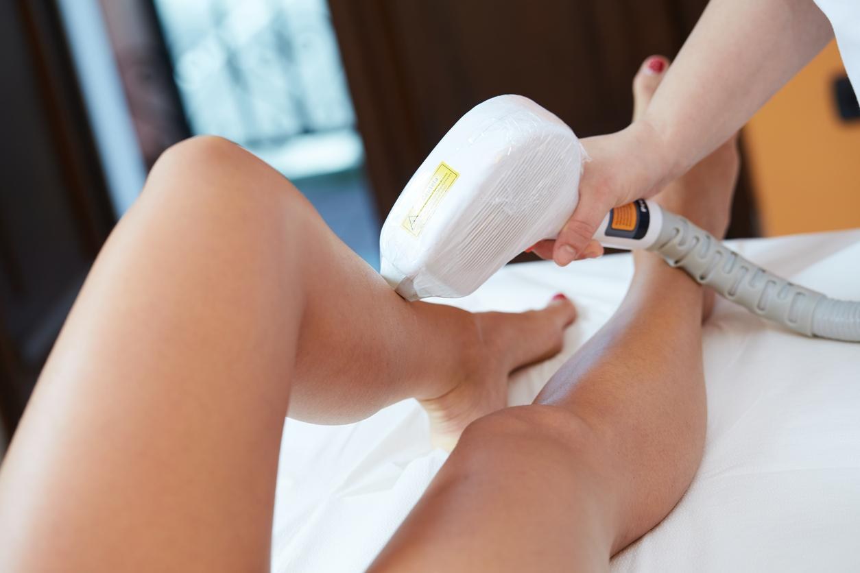 patient getting Laser Hair Removal on their legs