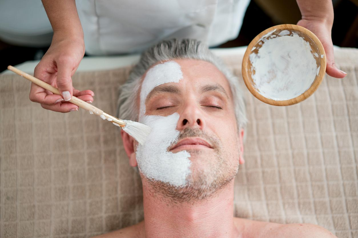 male patient getting a Facial
